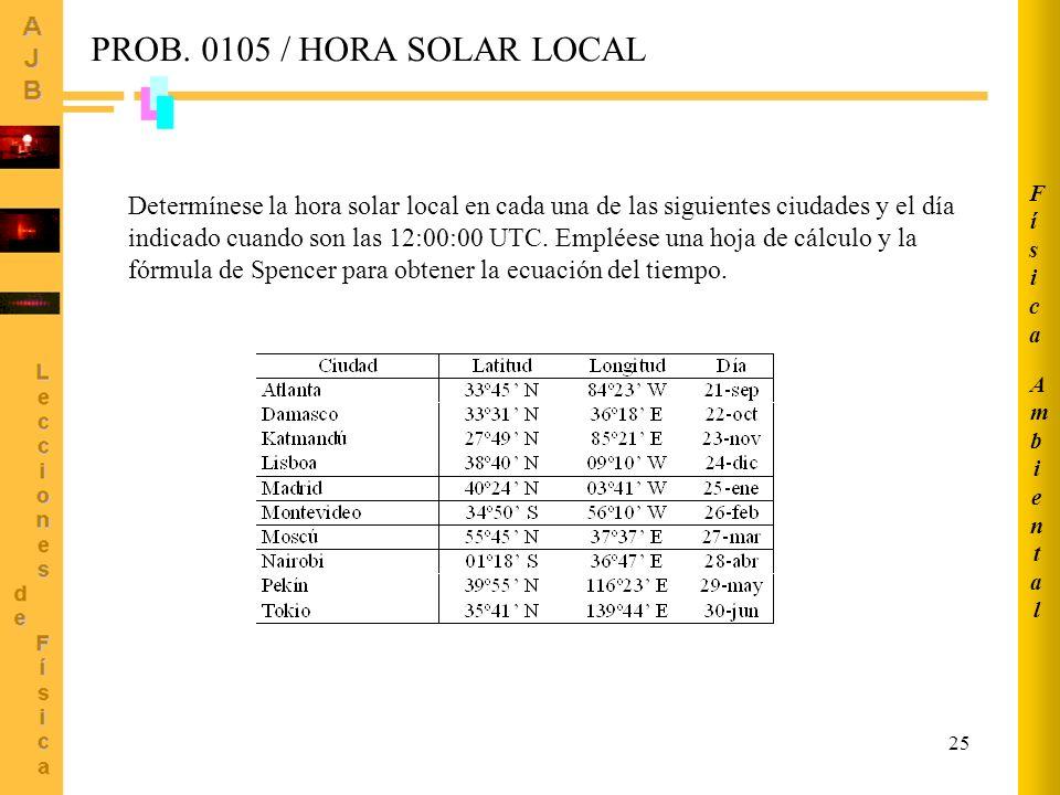 Ambiental Física. PROB. 0105 / HORA SOLAR LOCAL.