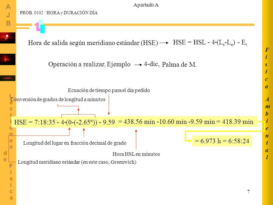 Hora de salida según meridiano estándar (HSE)