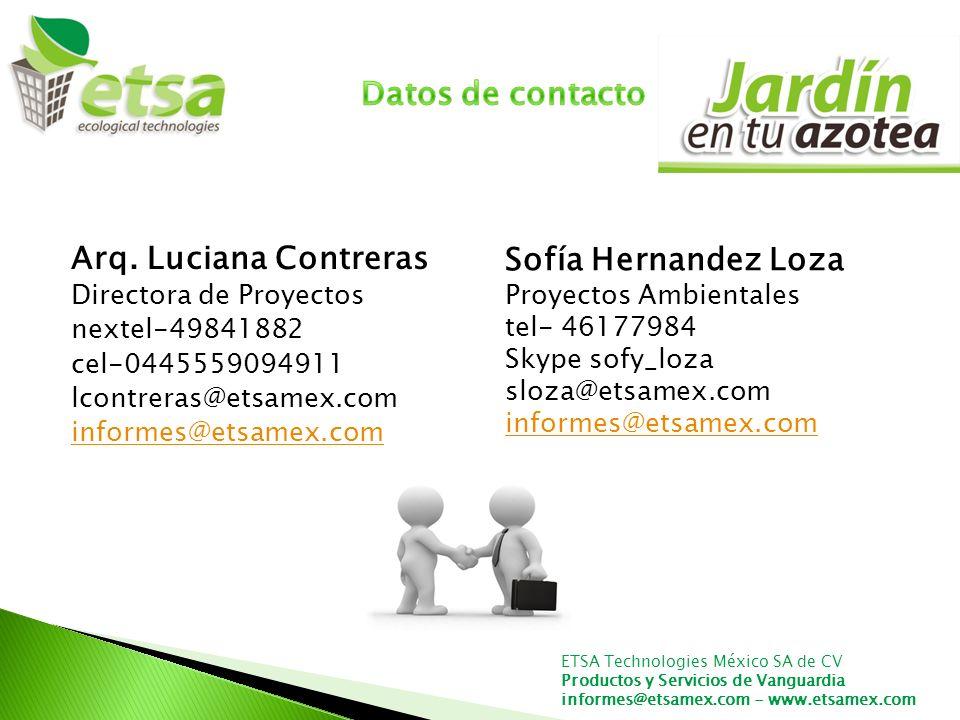 Datos de contacto Arq. Luciana Contreras Sofía Hernandez Loza