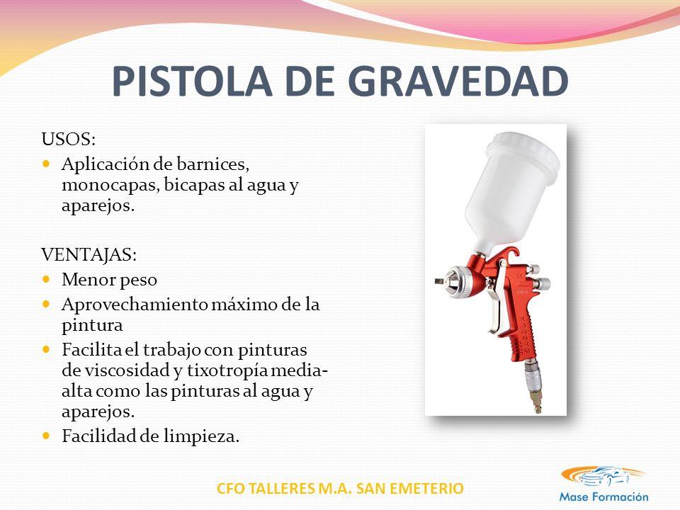 PISTOLA DE GRAVEDAD USOS: