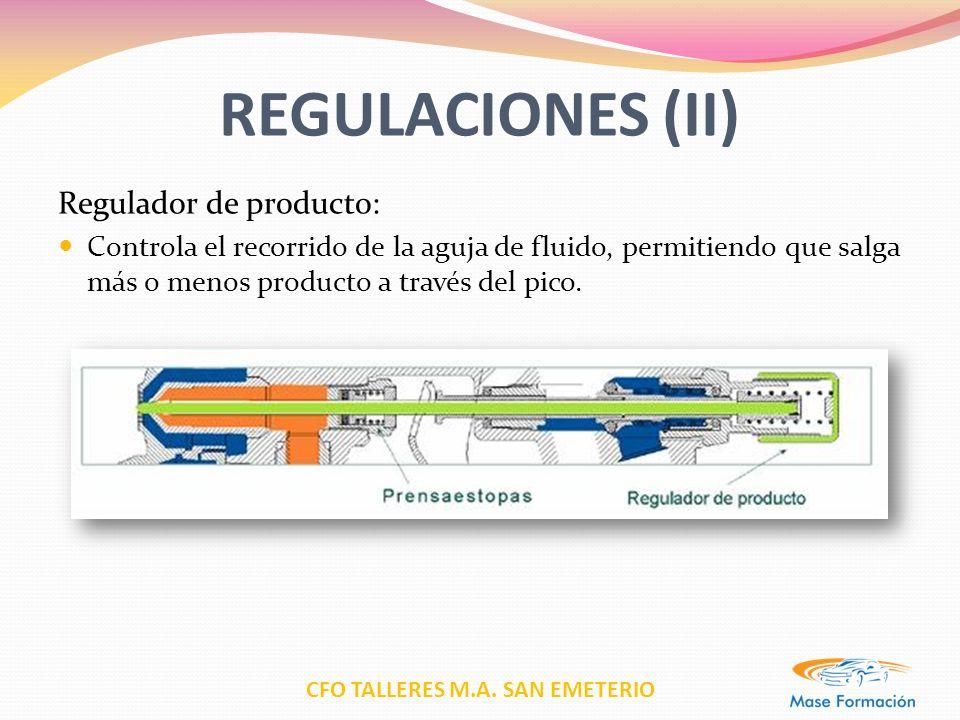 REGULACIONES (II) Regulador de producto: