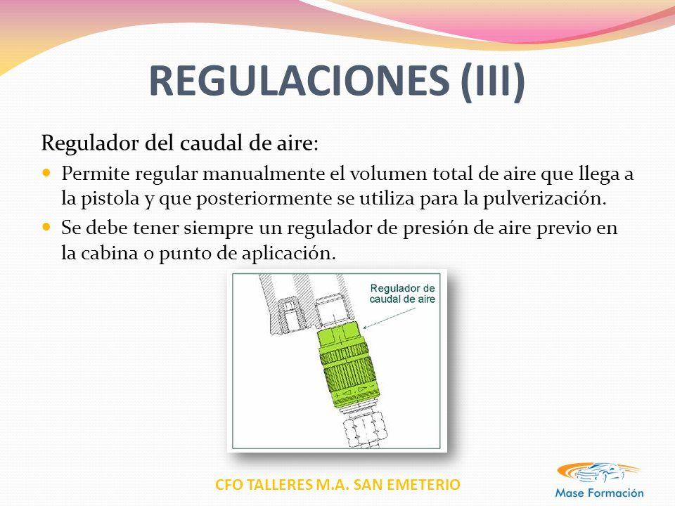 REGULACIONES (III) Regulador del caudal de aire: