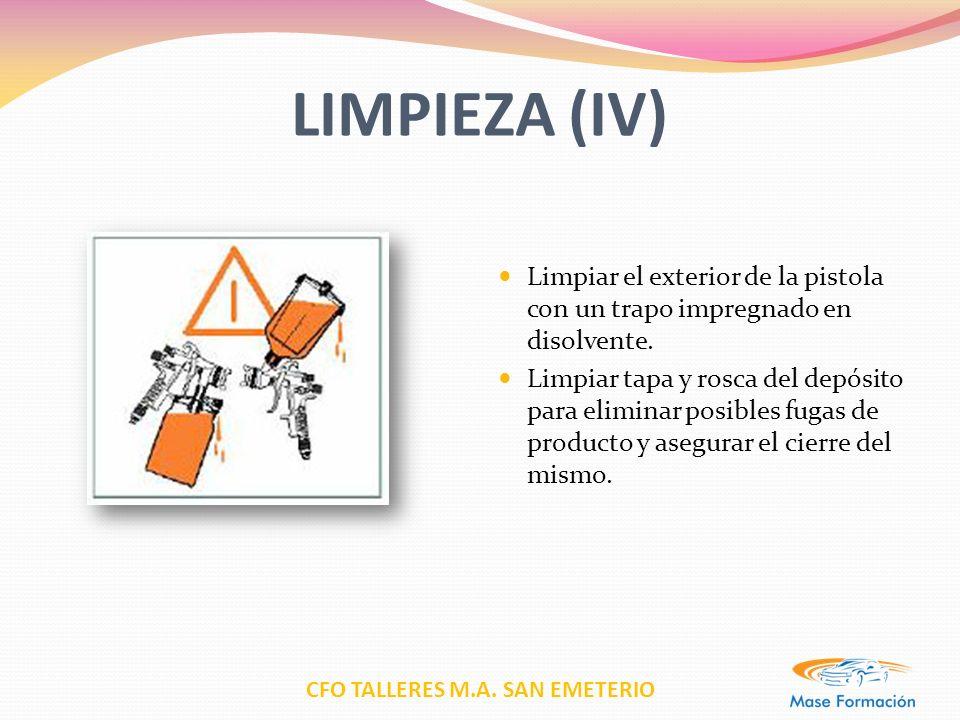 LIMPIEZA (IV) Limpiar el exterior de la pistola con un trapo impregnado en disolvente.