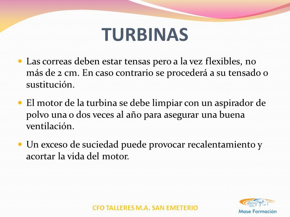 TURBINAS Las correas deben estar tensas pero a la vez flexibles, no más de 2 cm. En caso contrario se procederá a su tensado o sustitución.