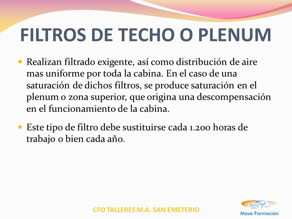 FILTROS DE TECHO O PLENUM