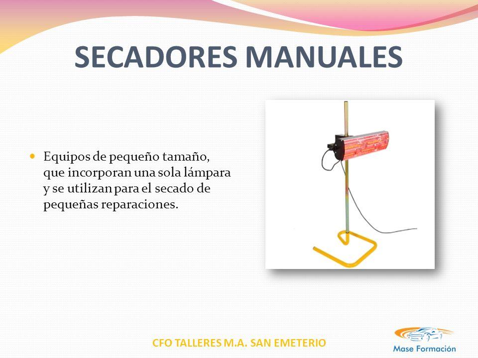 SECADORES MANUALES Equipos de pequeño tamaño, que incorporan una sola lámpara y se utilizan para el secado de pequeñas reparaciones.