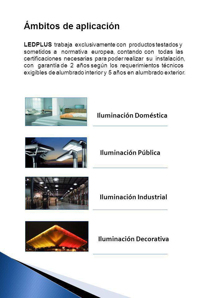 Iluminación Doméstica Iluminación Industrial Iluminación Decorativa