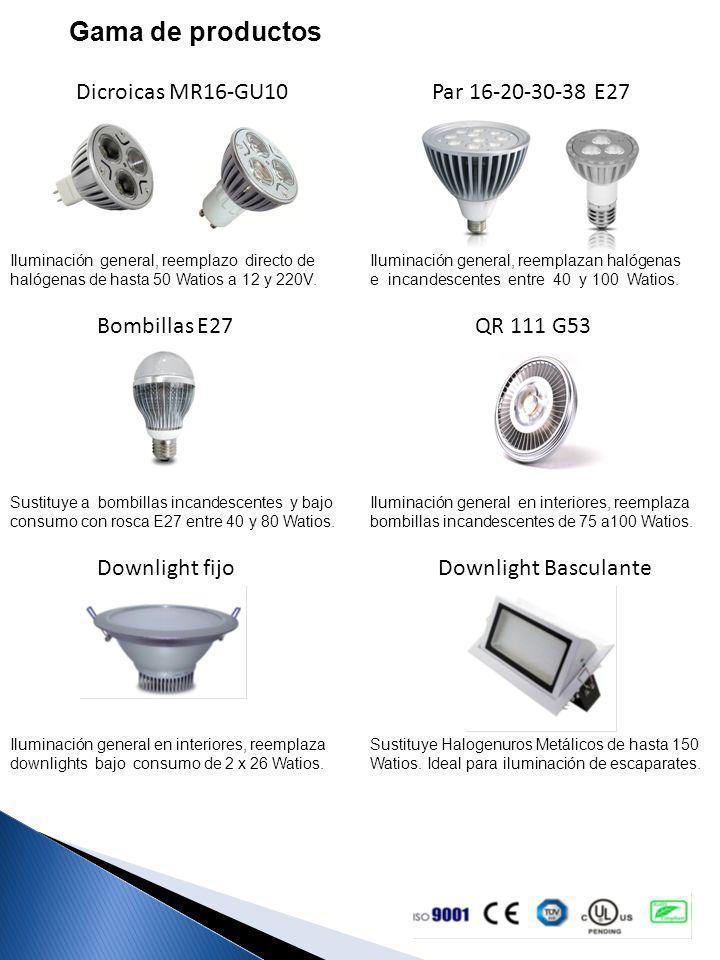 Gama de productos Dicroicas MR16-GU10 Par 16-20-30-38 E27