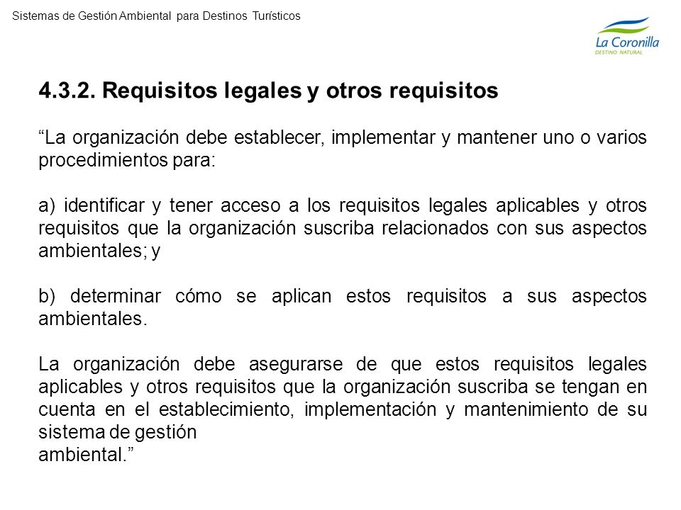 4.3.2. Requisitos legales y otros requisitos