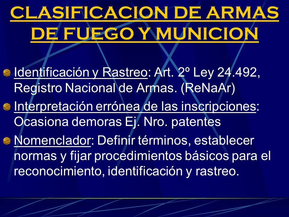CLASIFICACION DE ARMAS DE FUEGO Y MUNICION