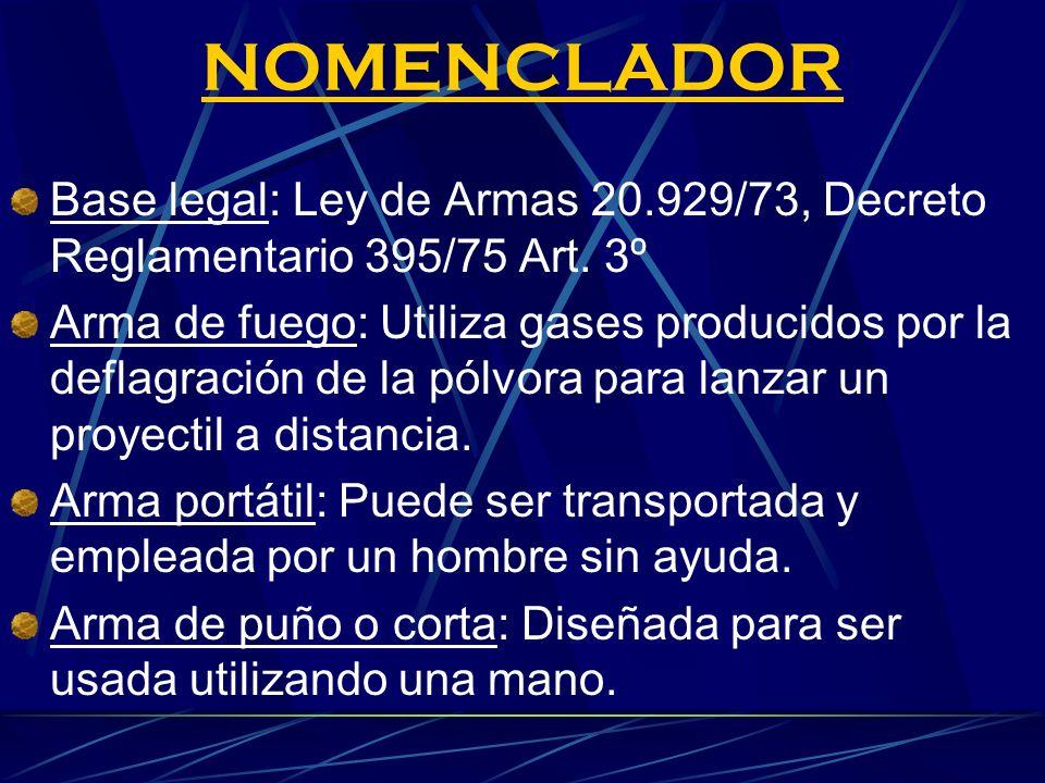NOMENCLADOR Base legal: Ley de Armas 20.929/73, Decreto Reglamentario 395/75 Art. 3º.