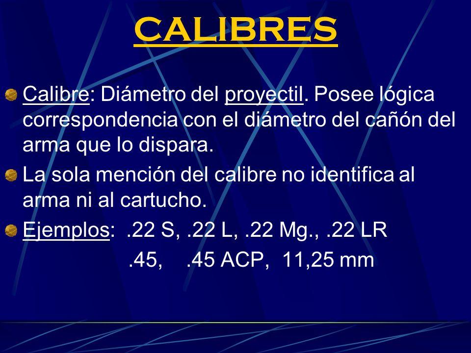 CALIBRES Calibre: Diámetro del proyectil. Posee lógica correspondencia con el diámetro del cañón del arma que lo dispara.