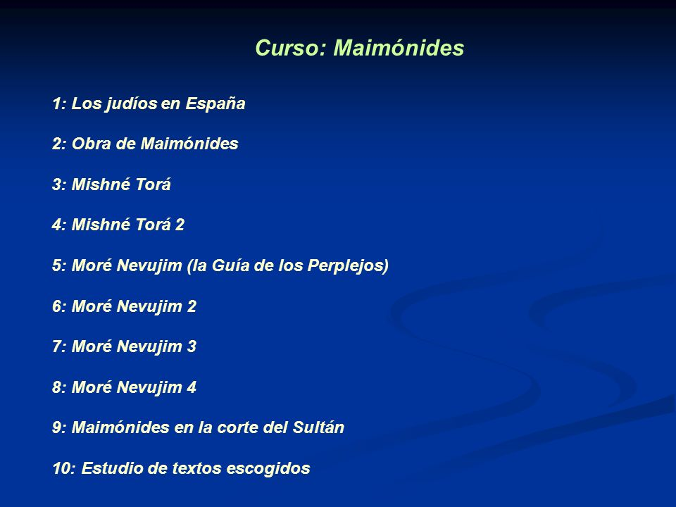 Curso: Maimónides