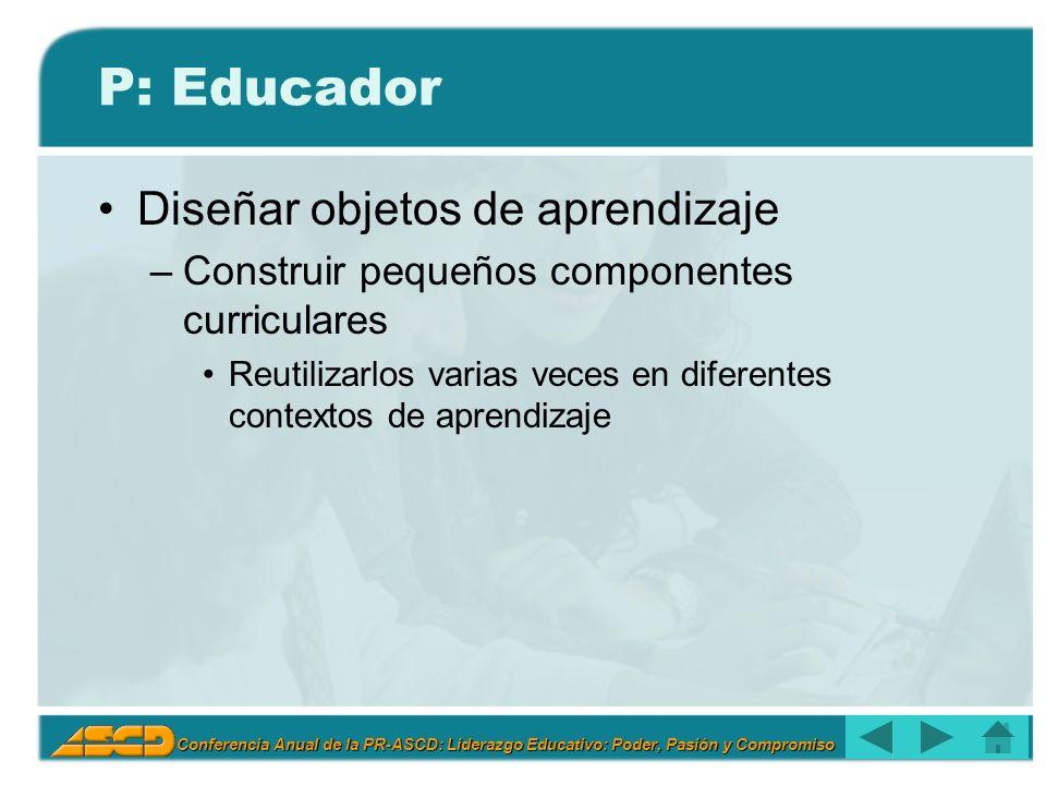 P: Educador Diseñar objetos de aprendizaje