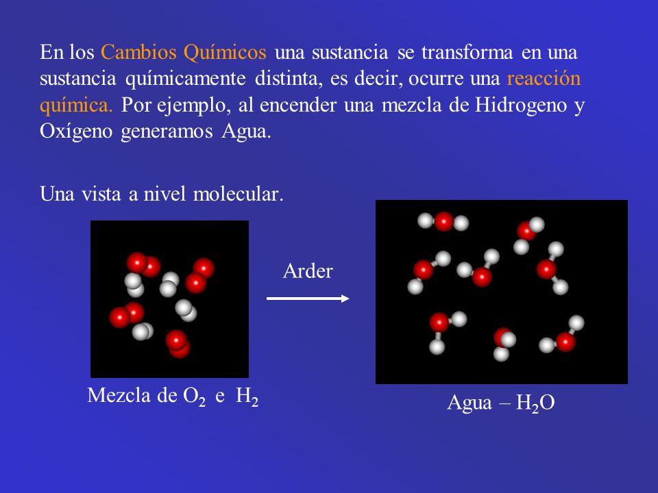 En los Cambios Químicos una sustancia se transforma en una sustancia químicamente distinta, es decir, ocurre una reacción química. Por ejemplo, al encender una mezcla de Hidrogeno y Oxígeno generamos Agua.