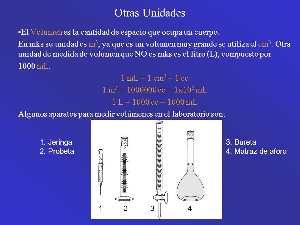 Otras Unidades El Volumen es la cantidad de espacio que ocupa un cuerpo.