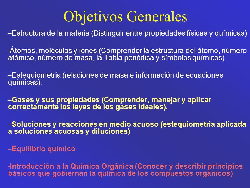 Objetivos Generales Estructura de la materia (Distinguir entre propiedades físicas y químicas)