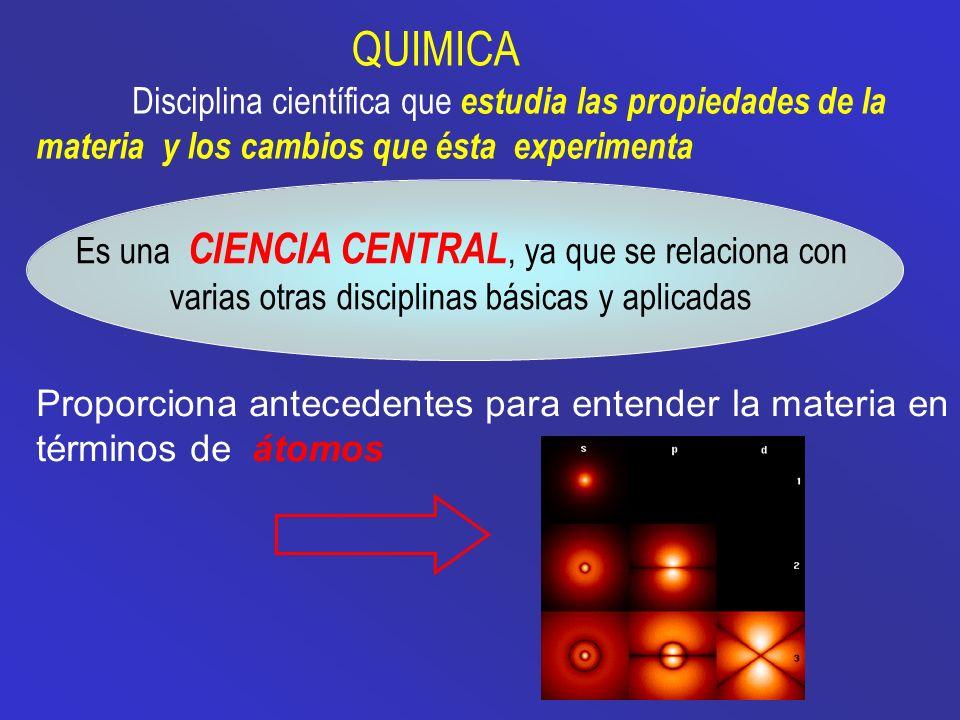 QUIMICA Es una CIENCIA CENTRAL, ya que se relaciona con