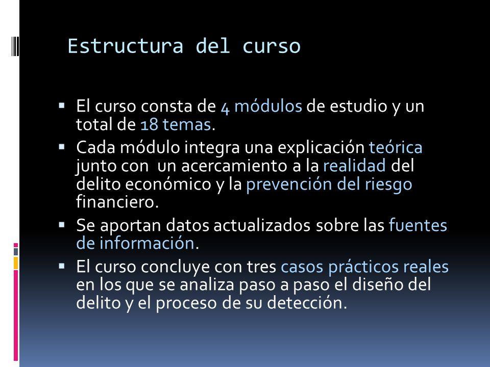 Estructura del curso El curso consta de 4 módulos de estudio y un total de 18 temas.
