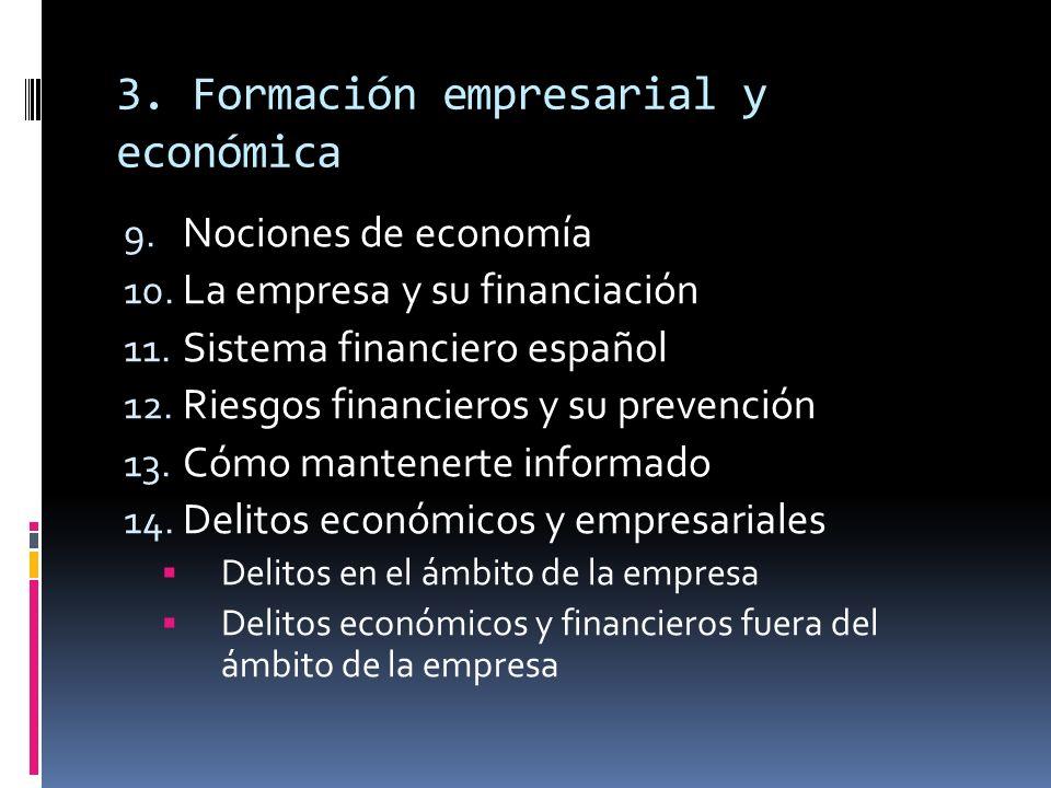 3. Formación empresarial y económica