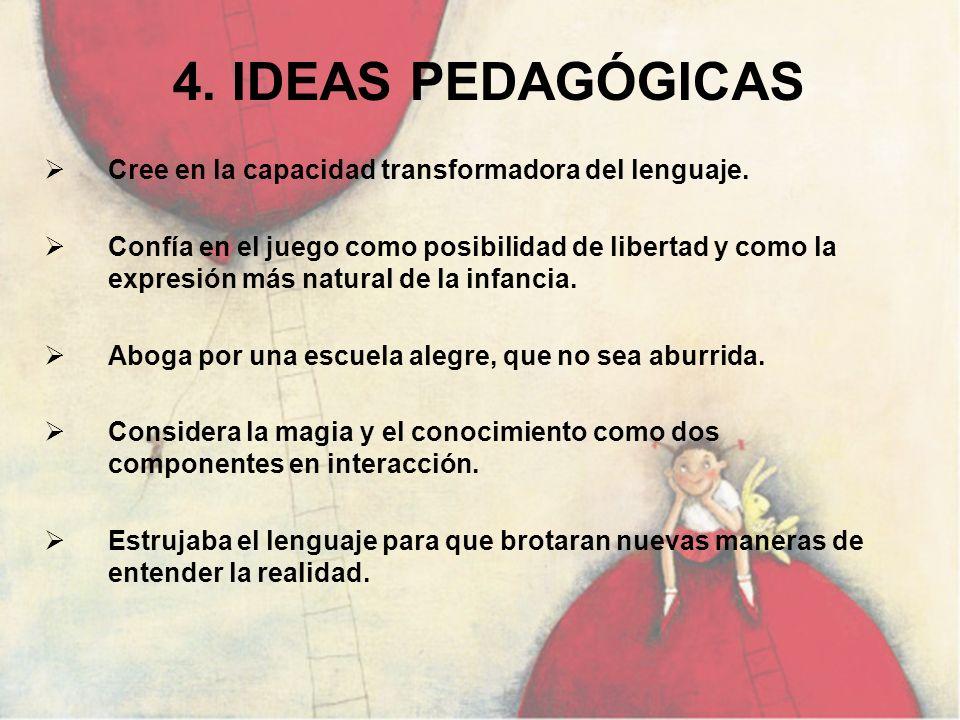 4. IDEAS PEDAGÓGICAS Cree en la capacidad transformadora del lenguaje.
