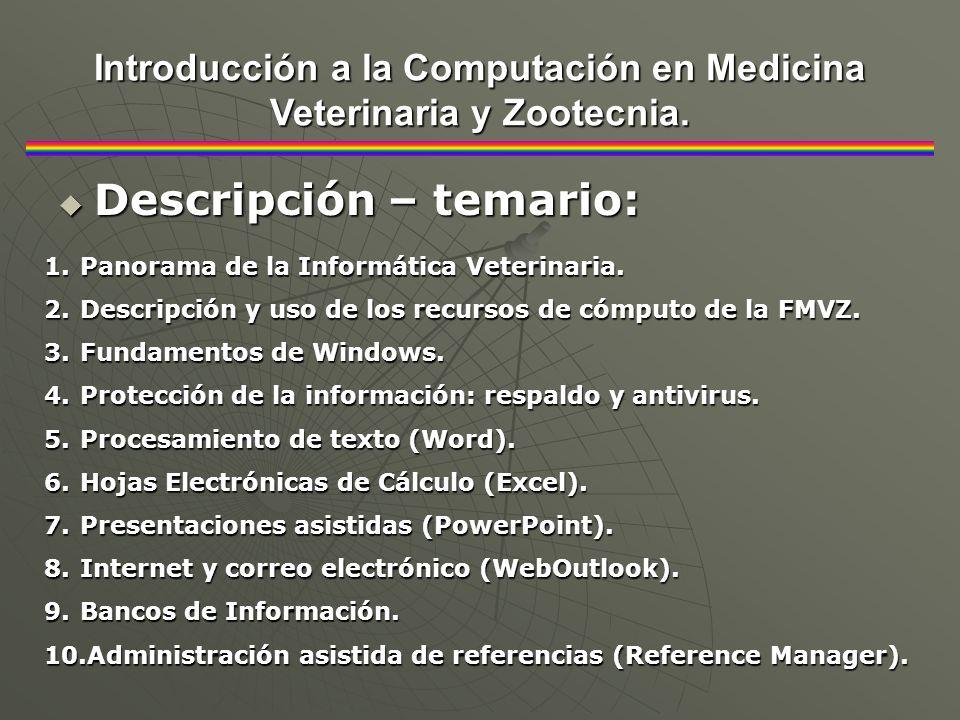 Introducción a la Computación en Medicina Veterinaria y Zootecnia.