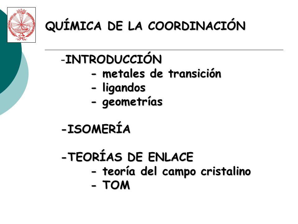 QUÍMICA DE LA COORDINACIÓN