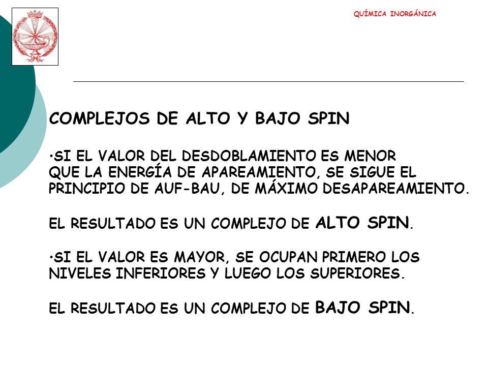 COMPLEJOS DE ALTO Y BAJO SPIN