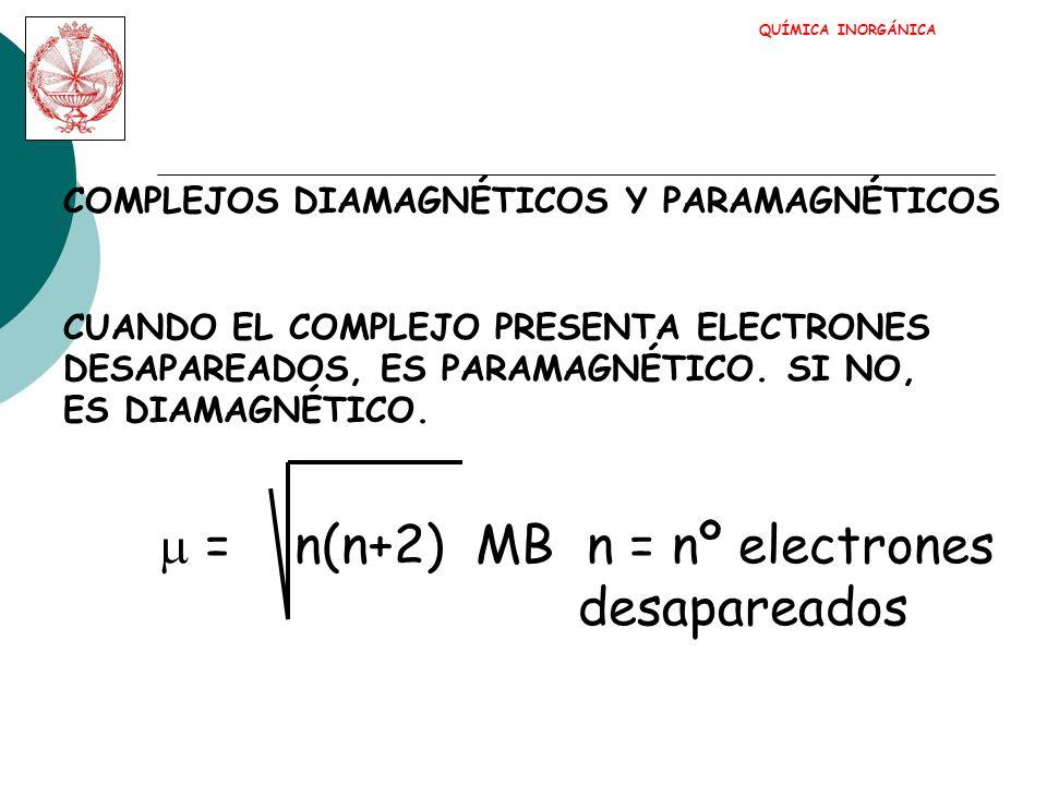 = n(n+2) MB n = nº electrones desapareados