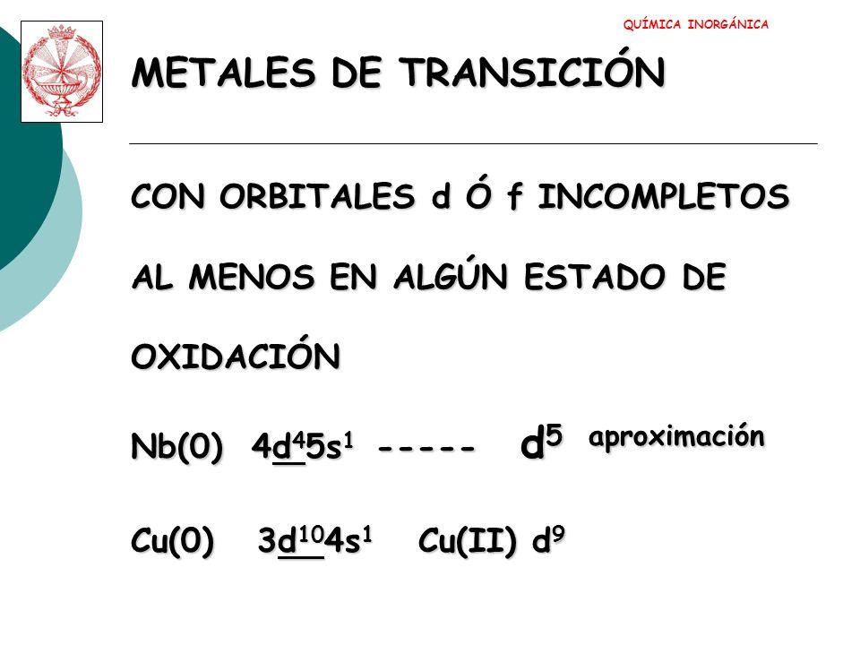 METALES DE TRANSICIÓN CON ORBITALES d Ó f INCOMPLETOS