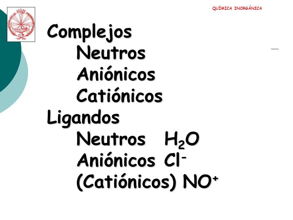 Complejos Neutros Aniónicos Catiónicos Ligandos Neutros H2O