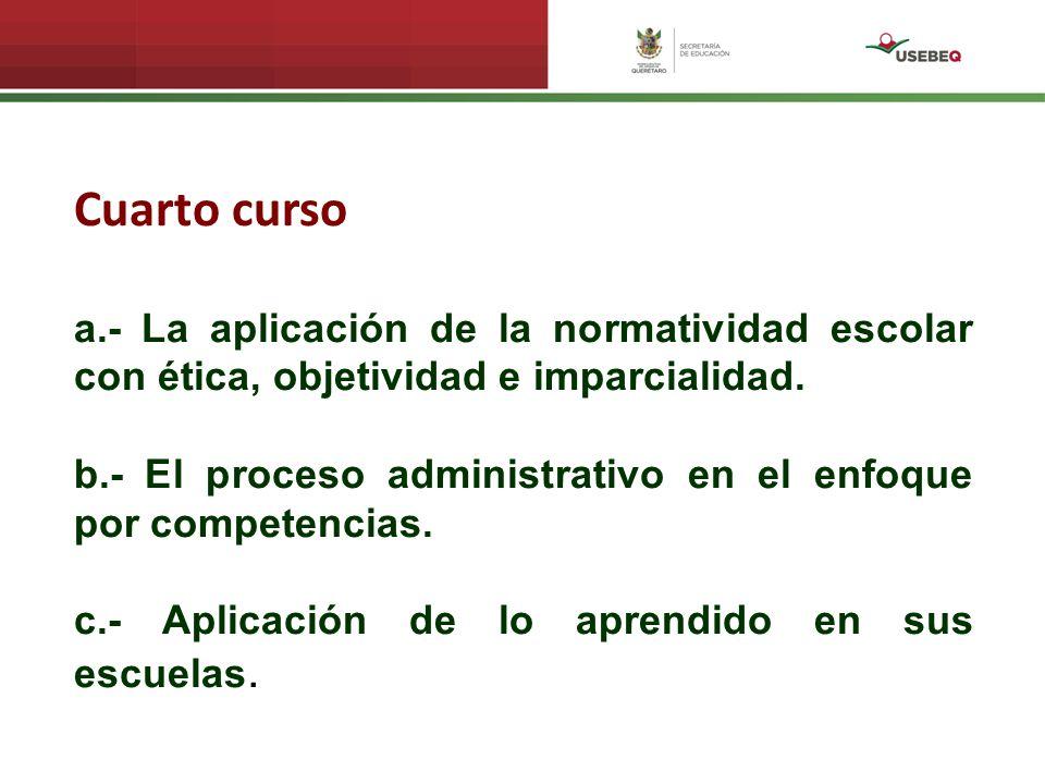 Cuarto curso a.- La aplicación de la normatividad escolar con ética, objetividad e imparcialidad.