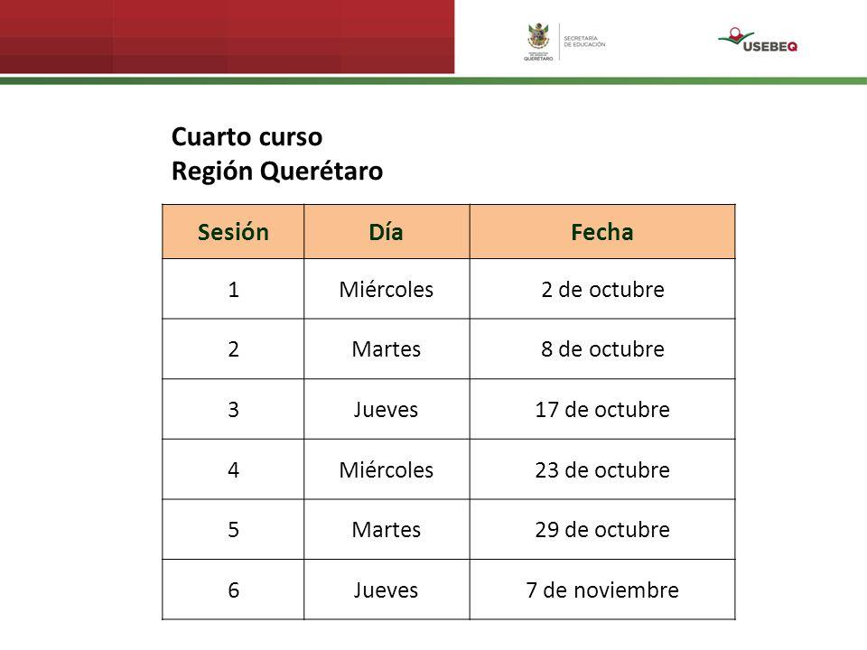 Cuarto curso Región Querétaro Sesión Día Fecha 1 Miércoles