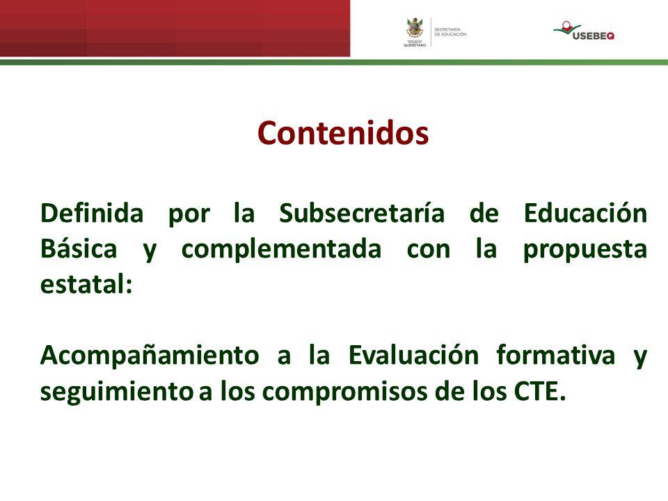 Contenidos Definida por la Subsecretaría de Educación Básica y complementada con la propuesta estatal: