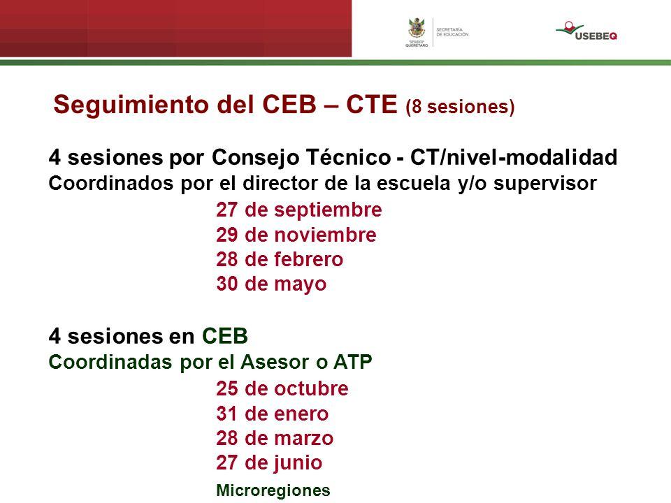 Seguimiento del CEB – CTE (8 sesiones)