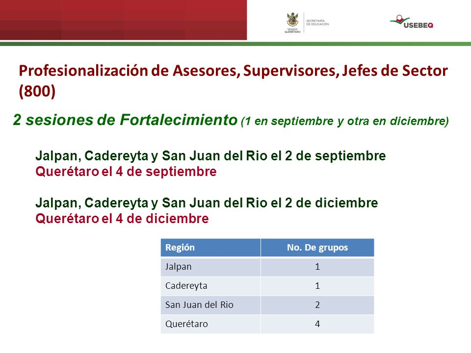 Profesionalización de Asesores, Supervisores, Jefes de Sector (800)