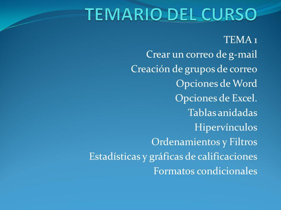 TEMARIO DEL CURSO TEMA 1 Crear un correo de g-mail