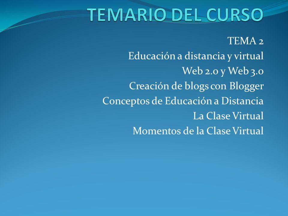 TEMARIO DEL CURSO TEMA 2 Educación a distancia y virtual