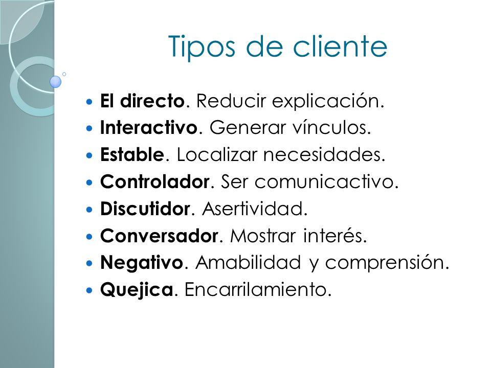 Tipos de cliente El directo. Reducir explicación.