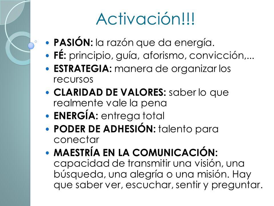 Activación!!! PASIÓN: la razón que da energía.
