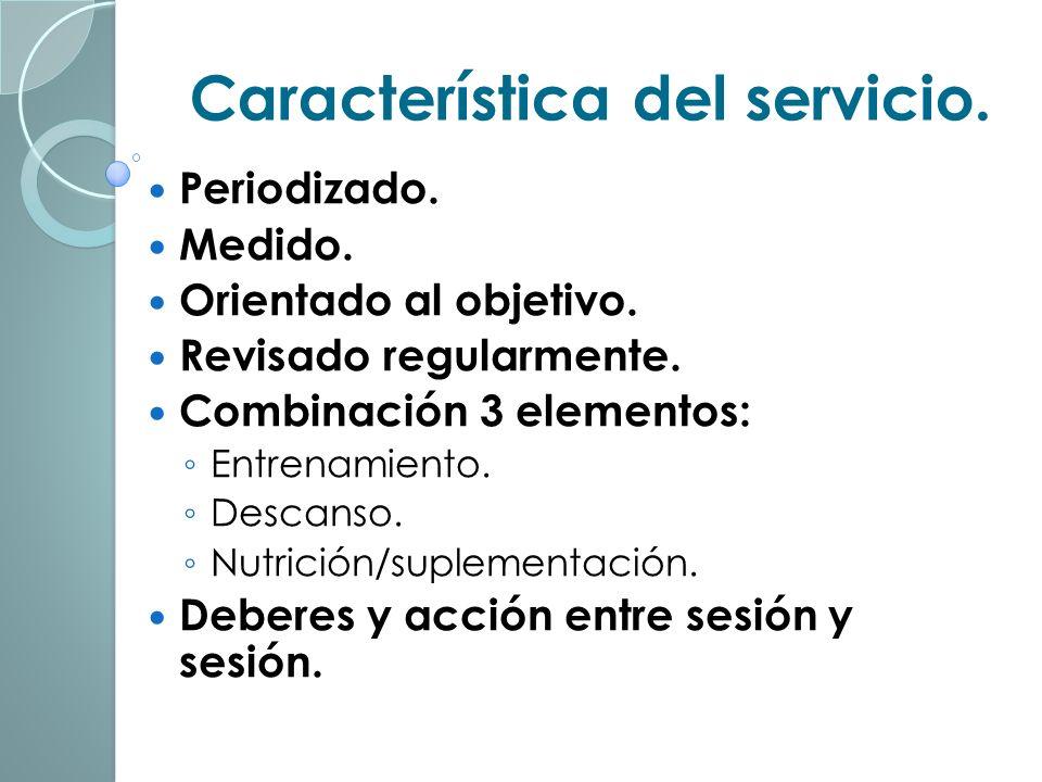 Característica del servicio.