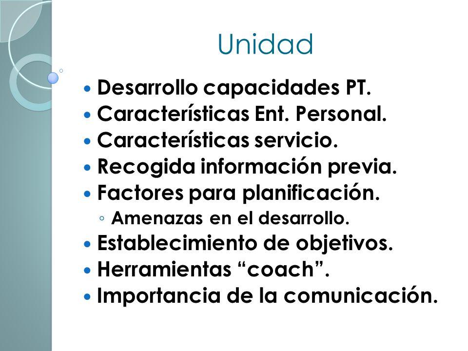 Unidad Desarrollo capacidades PT. Características Ent. Personal.