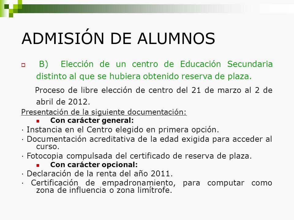 ADMISIÓN DE ALUMNOS B) Elección de un centro de Educación Secundaria distinto al que se hubiera obtenido reserva de plaza.