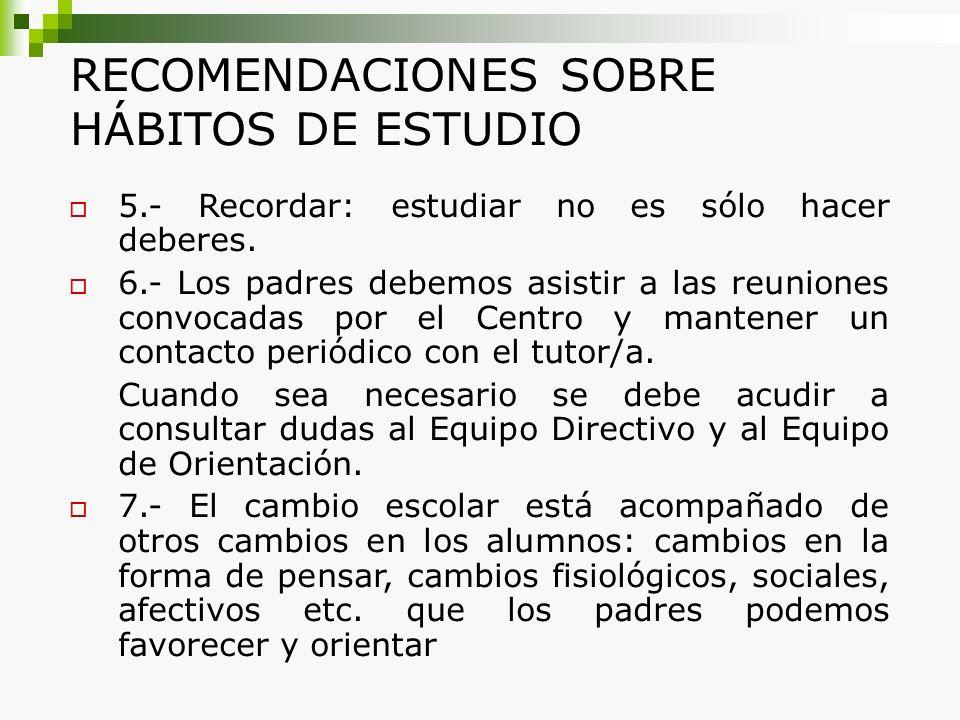 RECOMENDACIONES SOBRE HÁBITOS DE ESTUDIO