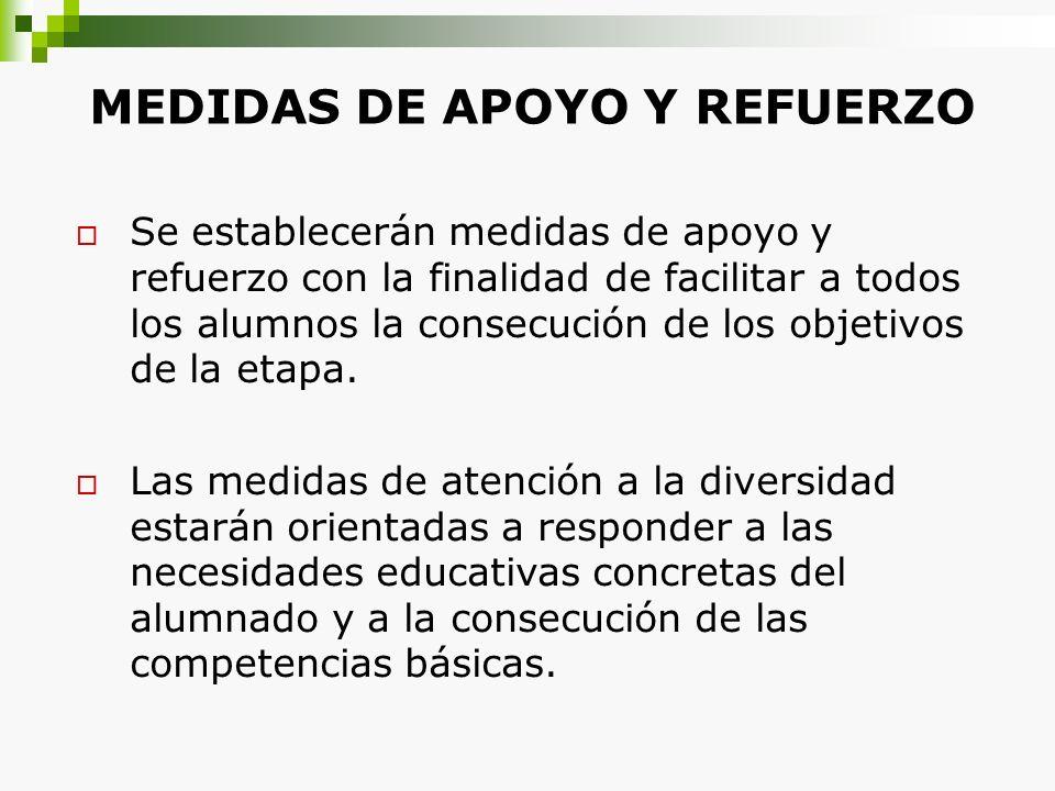 MEDIDAS DE APOYO Y REFUERZO