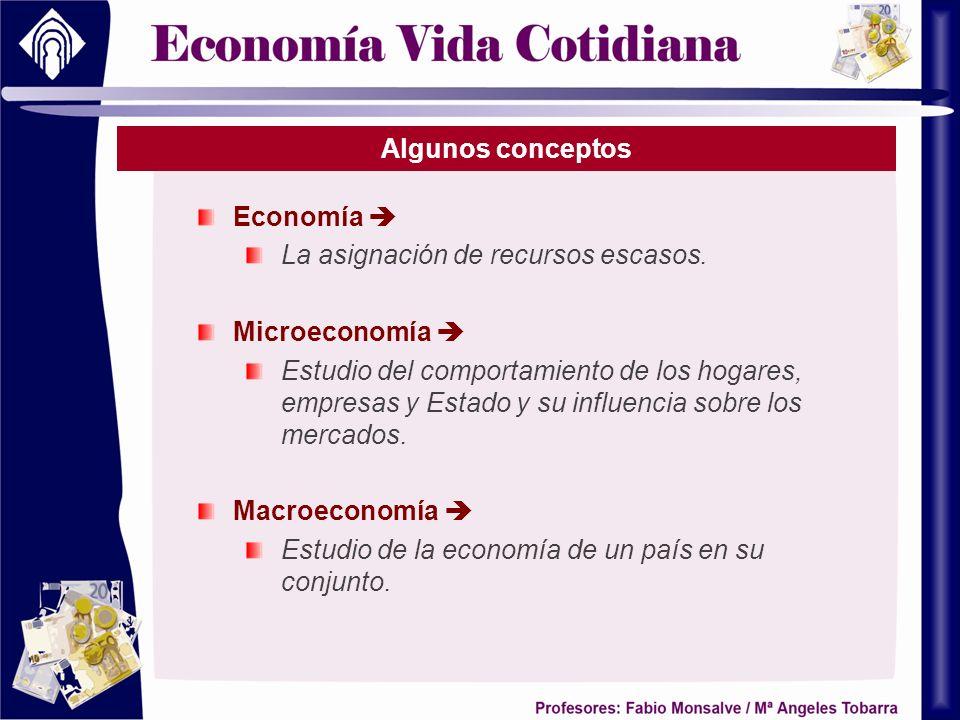 Algunos conceptos Economía  La asignación de recursos escasos. Microeconomía 