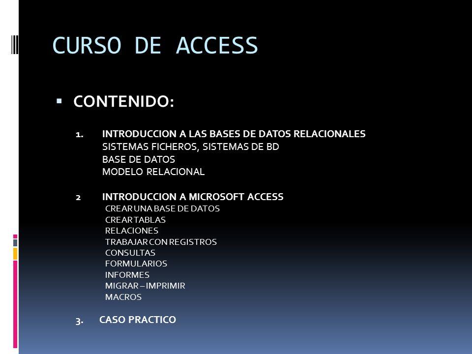 CURSO DE ACCESS CONTENIDO: