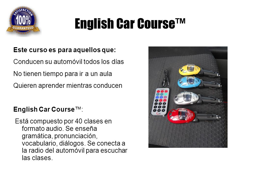 English Car Course™ Este curso es para aquellos que: