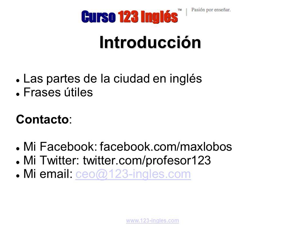 Introducción Las partes de la ciudad en inglés Frases útiles Contacto:
