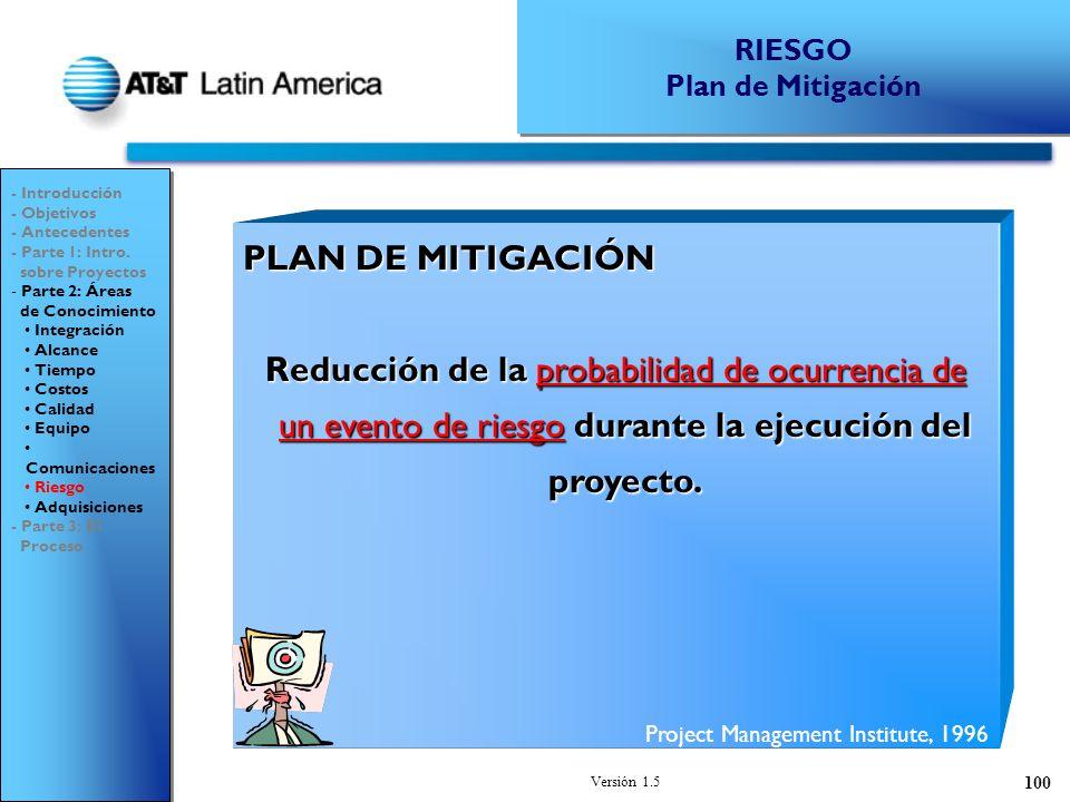 RIESGO Plan de Mitigación. - Introducción. - Objetivos. - Antecedentes. - Parte 1: Intro. sobre Proyectos.